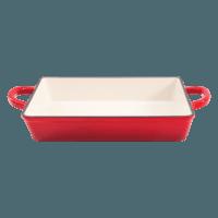 Vas lasagna, fonta emailata, 33cm, rosu