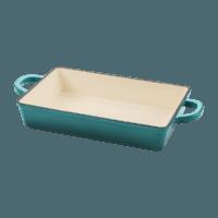 Vas lasagna, fonta emailata, 33cm, turcoaz